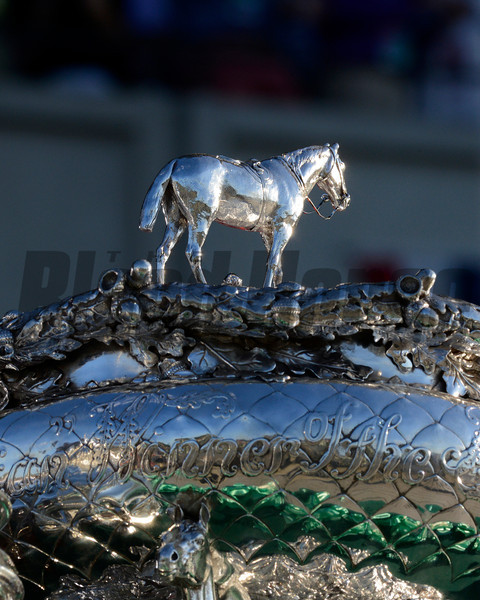 Caption: Belmont Stakes trophy<br /> wins the Belmont Stakes (gr. I) on June 7, 2014, at Belmont Park in Elmont, N.Y.<br /> 11-Belmont2 image<br /> Photo by Anne M. Eberhardt