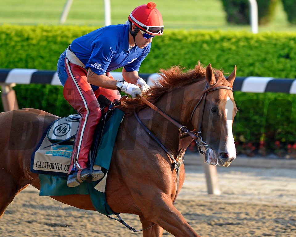 Caption: California Chrome<br /> Belmont and undercard works on June 3, 2014, at Belmont Park in Elmont, N.Y.<br /> TuesOrigs1  image998<br /> Photo by Anne M. Eberhardt