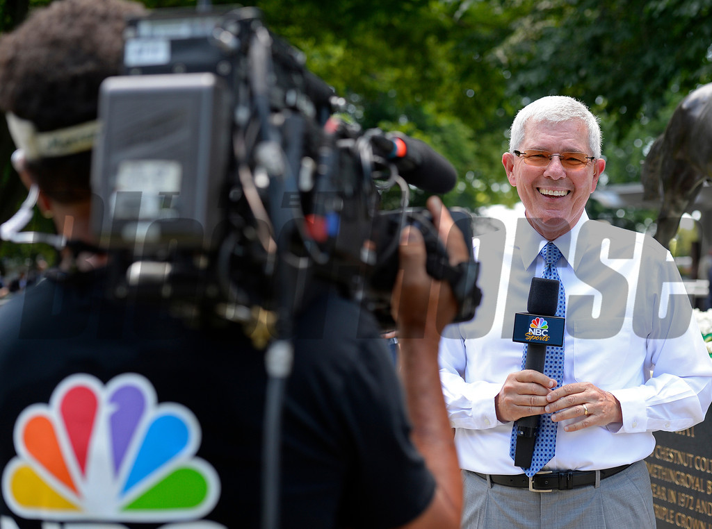 Caption: Mike Battaglia with NBC preparing for paddock segment.<br /> Belmont Stakes day on June 7, 2014, at Belmont Park in Elmont, N.Y.<br /> 3-Brooklyn1 image539<br /> Photo by Anne M. Eberhardt