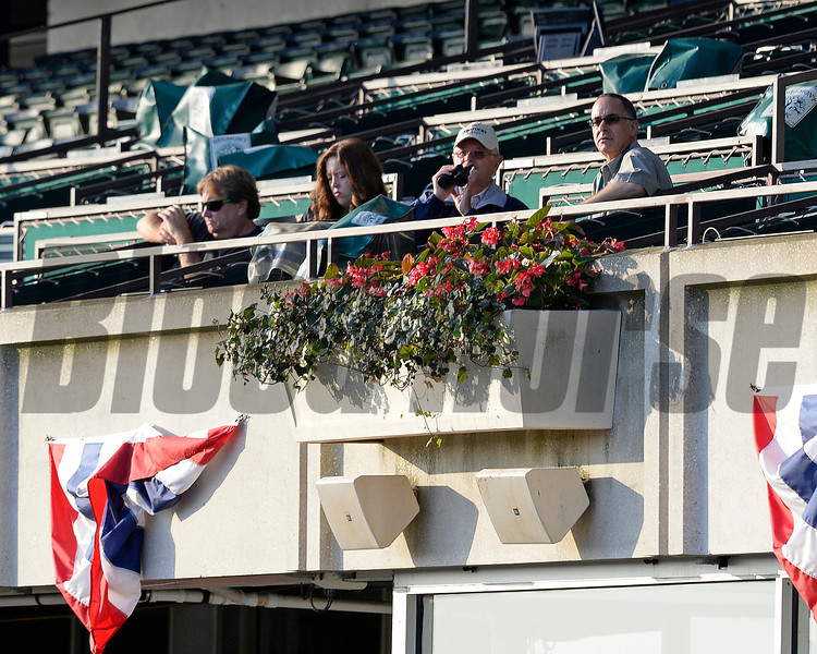 Caption: Art Sherman sitting with media watches California Chrome on track.<br /> Belmont and undercard works on June 3, 2014, at Belmont Park in Elmont, N.Y.<br /> TuesOrigs1  image979<br /> Photo by Anne M. Eberhardt