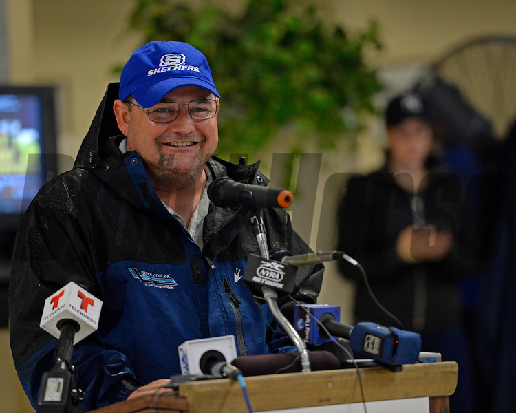 Caption: trainer Alan Sherman, during the daily press conference<br /> Belmont and undercard works on June 5, 2014, at Belmont Park in Elmont, N.Y.<br /> Thurs1Origs2 image071<br /> Photo by Anne M. Eberhardt