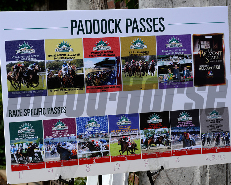 Caption: Paddock Passes smorgasbord<br /> Belmont Stakes day on June 7, 2014, at Belmont Park in Elmont, N.Y.<br /> 3-Brooklyn1 image548<br /> Photo by Anne M. Eberhardt