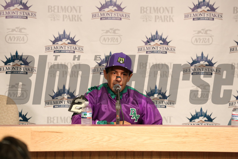 Caption: California Chrome jock Victor Espinoza after race in news conference<br /> wins the Belmont Stakes (gr. I) on June 7, 2014, at Belmont Park in Elmont, N.Y.<br /> 11-Belmont3 image149<br /> Photo by Ashton Harrewyn