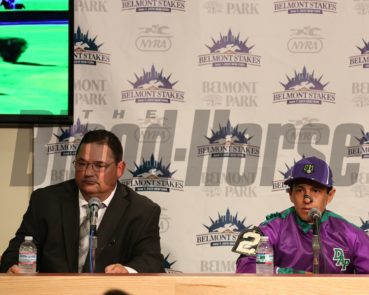 Caption: Alan Sherman, left, and Victor Espinoza<br /> Belmont Stakes (gr. I) on June 7, 2014, at Belmont Park in Elmont, N.Y.<br /> 11-Belmont3 image157<br /> Photo by Ashton Harrewyn