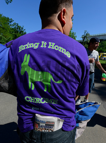 Caption: Bring it home Chrome, common sentiment at Belmont today.<br /> Belmont Stakes day on June 7, 2014, at Belmont Park in Elmont, N.Y.<br /> BelmontAM1 image887<br /> Photo by Anne M. Eberhardt