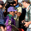 Caption: Victor Espinoza after race<br /> wins the Belmont Stakes (gr. I) on June 7, 2014, at Belmont Park in Elmont, N.Y.<br /> 11-Belmont1 image880<br /> Photo by Anne M. Eberhardt