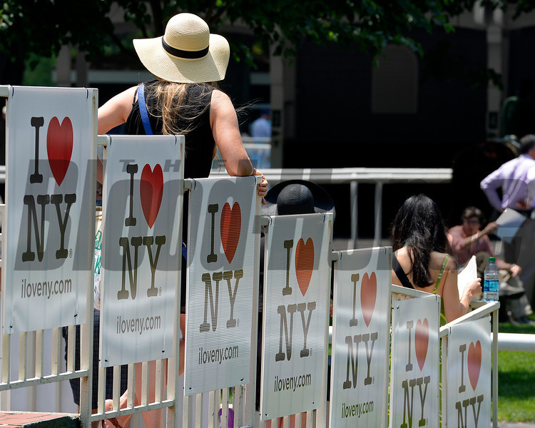 Caption: fashion and I love NY signs<br /> Belmont Stakes day on June 7, 2014, at Belmont Park in Elmont, N.Y.<br /> 3-Brooklyn1 image514<br /> Photo by Anne M. Eberhardt