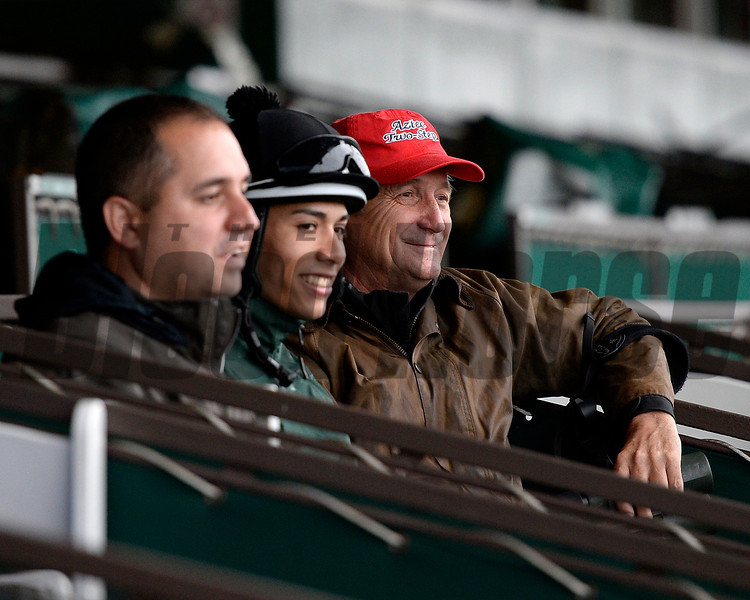 Caption: trainer Rick Violette, right in red hat, watches Samraat on Belmont track<br /> Belmont and undercard works on June 5, 2014, at Belmont Park in Elmont, N.Y.<br /> Thurs1Origs2 image109<br /> Photo by Anne M. Eberhardt