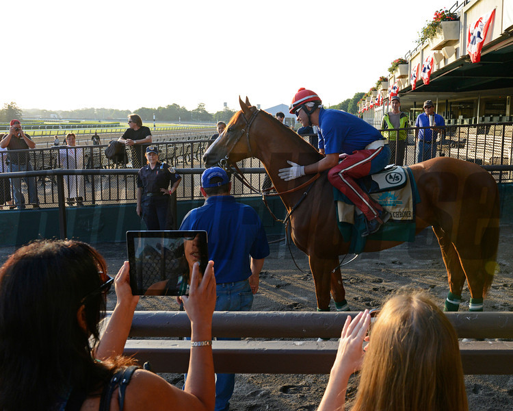 Caption: Media members doing social media of California Chrome on ipad and on  mobile phone<br /> Belmont and undercard works on June 3, 2014, at Belmont Park in Elmont, N.Y.<br /> TuesOrigs2  image799<br /> Photo by Anne M. Eberhardt