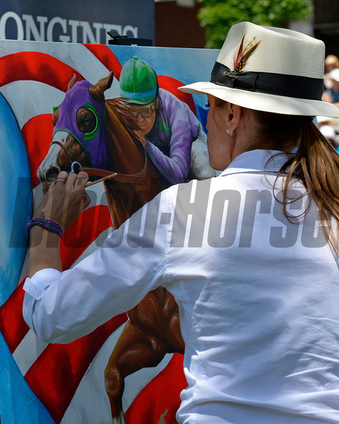 Caption: Susan Sommer-Luarca, horse racing artist in the paddock.<br /> Belmont Stakes day on June 7, 2014, at Belmont Park in Elmont, N.Y.<br /> 3-Brooklyn1 image523<br /> Photo by Anne M. Eberhardt