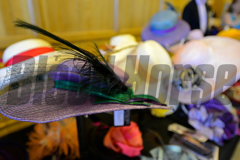 Caption: Hats for sale including one in California Chrome colors<br /> Belmont Stakes day on June 7, 2014, at Belmont Park in Elmont, N.Y.<br /> BelmontAM1 image921<br /> Photo by Anne M. Eberhardt