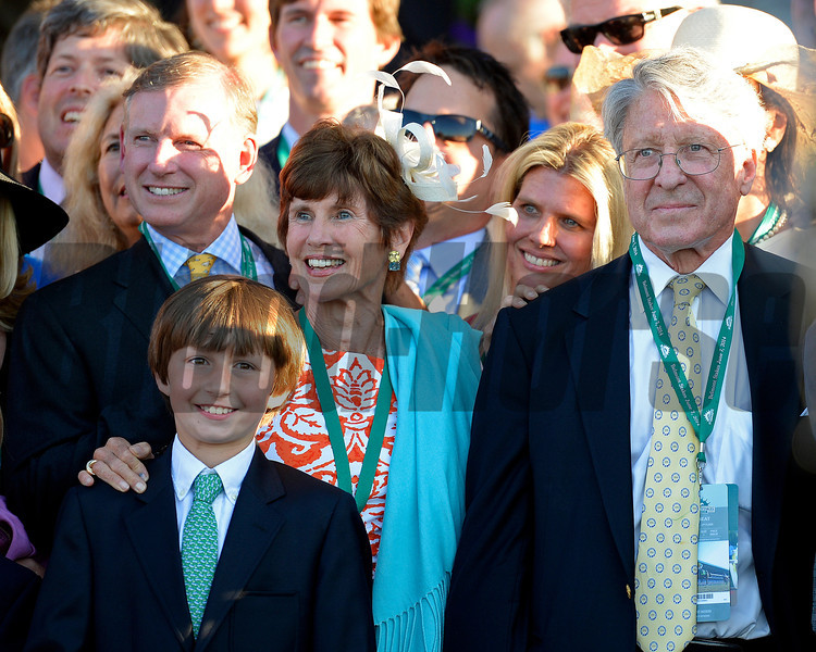 Caption: Tonalist owner Robert Evans, right, with family/friends<br /> wins the Belmont Stakes (gr. I) on June 7, 2014, at Belmont Park in Elmont, N.Y.<br /> 11-Belmont1 image906<br /> Photo by Anne M. Eberhardt