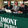 Steve Byk show with Steve Byk, center, And They're Off's own Lenny SHulman, left, and Steve Haskin, right, on Wed. June 4, 2014, at Belmont Park, in Elmont, NY.<br /> iphonephotos image 1546<br /> Photo by Anne M. Eberhardt