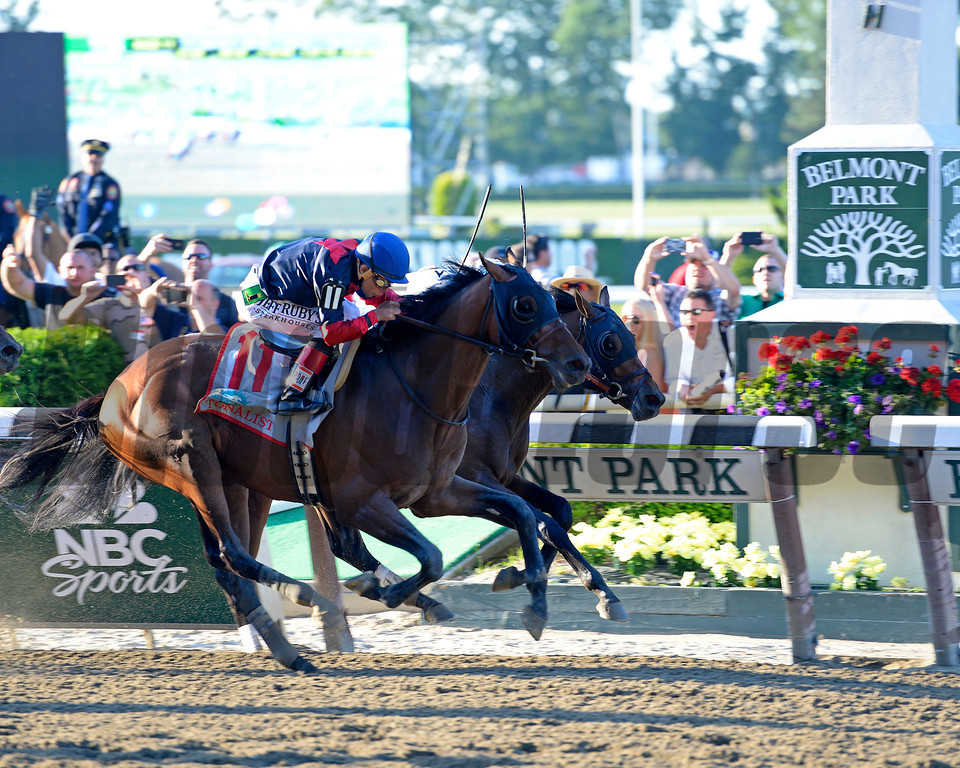 Caption: Tonalist with Joel Rosario <br /> wins the Belmont Stakes (gr. I) on June 7, 2014, at Belmont Park in Elmont, N.Y.<br /> 11-Belmont1 image867<br /> Photo by Anne M. Eberhardt