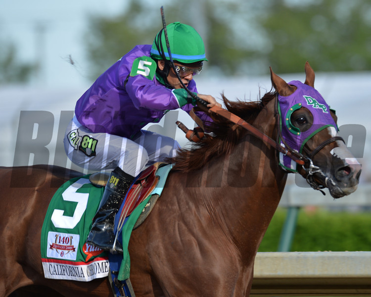 California Chrome with Victor Espinoza aboard wins the  2014 Kentucky Derby