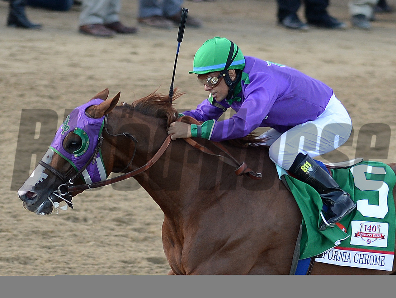 California Chrome,Victor Espinoza up, wins the 140th Kentucky Derby, Churchill Downs, Louisville, KY 5/3/14, photo by Mathea Kelley;