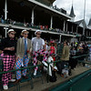Miek Deming, left, Mathew VanDonsel, center and Maxie Brice, right enjoy Oaks Day May 2, 2014 at Churchill Downs Race Track, the home of the 140th running of the Kentucky Derby to be run tomorrow in Louisville, Kentucky   (Skip Dickstein