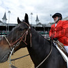 Outrider Kenny LaVergne of New Orleans watches for any problems on the track as he sits under the famed spires of Churchill Downs Race Track May 2, 2014,  the home of the 140th running of the Kentucky Derby to be run tomorrow in Louisville, Kentucky   (Skip Dickstein / Times Union)