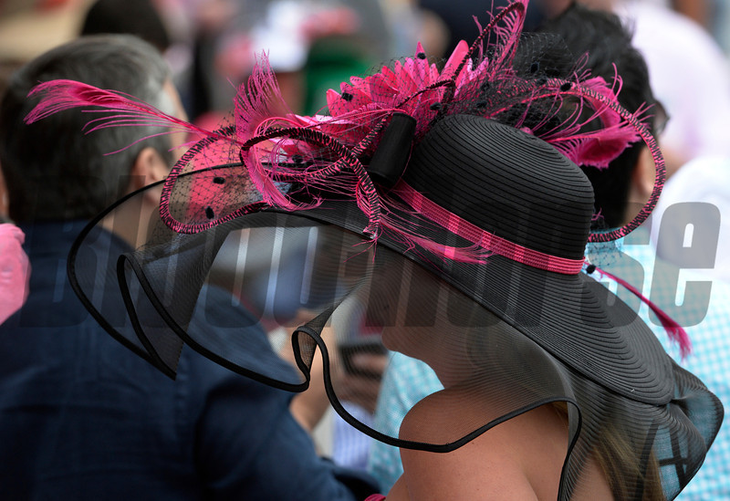 Pink the the popular color here in honor of Brest and Ovarian Awareness Day May 2, 2014 at Churchill Downs Race Track, the home of the 140th running of the Kentucky Derby to be run tomorrow in Louisville, Kentucky   (Skip Dickstein / Times Union)