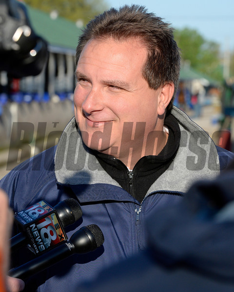 Caption: trainer Mike Maker<br /> Kentucky Derby contenders in training at the Churchill Downs in Louisville, Ky., on April 19, 2014.<br /> KentuckyDerby 1Works4_23 image961<br /> Photo by Anne M. Eberhardt