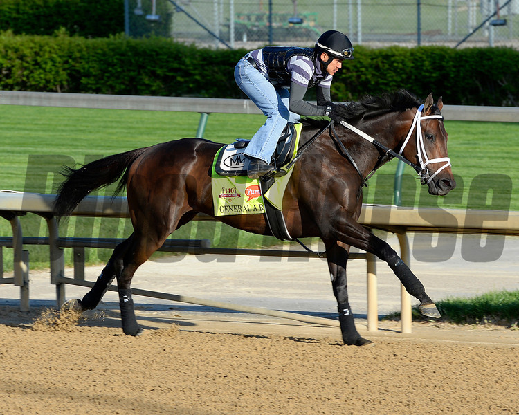 Caption: General A Rod with Joel Barrientos up<br /> Kentucky Derby contenders in training at the Churchill Downs in Louisville, Ky., on April 19, 2014.<br /> KentuckyDerby 1Works4_23 image982<br /> Photo by Anne M. Eberhardt