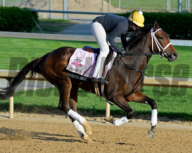 Caption: Room Service<br /> Kentucky Derby contenders in training at the Churchill Downs in Louisville, Ky., on April 19, 2014.<br /> KentuckyDerby 1Works4_23 image088<br /> Photo by Anne M. Eberhardt