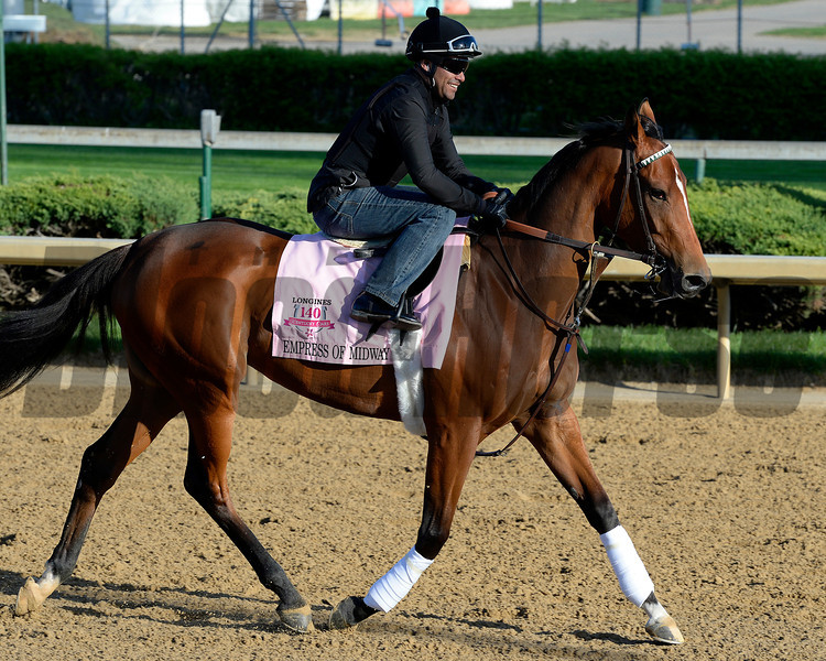 Caption: Empress of Midway<br /> Kentucky Derby contenders in training at the Churchill Downs in Louisville, Ky., on April 19, 2014.<br /> KentuckyDerby 2Works4_23 image158<br /> Photo by Anne M. Eberhardt