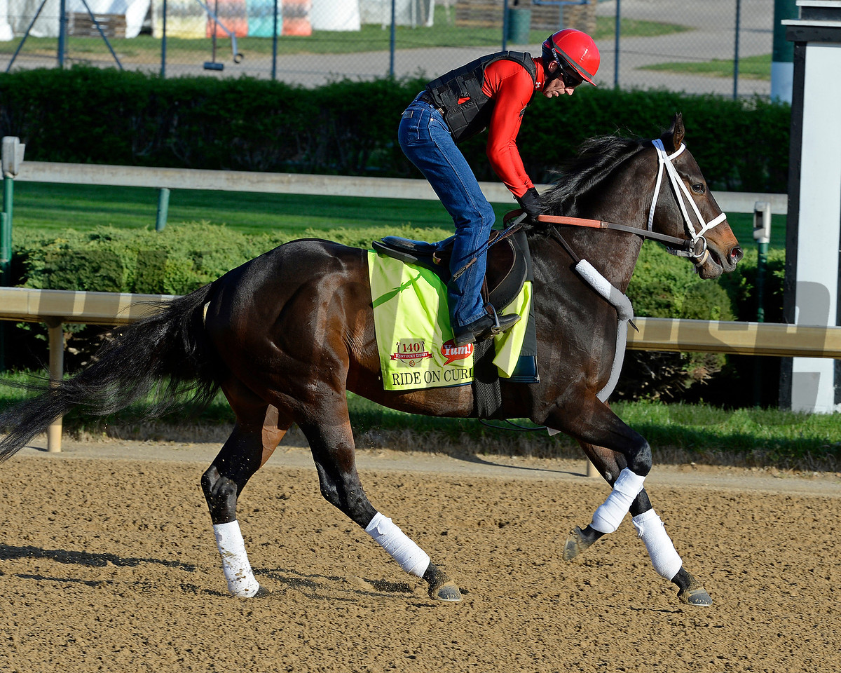 Caption: Ride on Curlin with Bryan Beccia<br /> Kentucky Derby contenders in training at the Churchill Downs in Louisville, Ky., on April 19, 2014.<br /> KentuckyDerby 1Works4_23 image074<br /> Photo by Anne M. Eberhardt