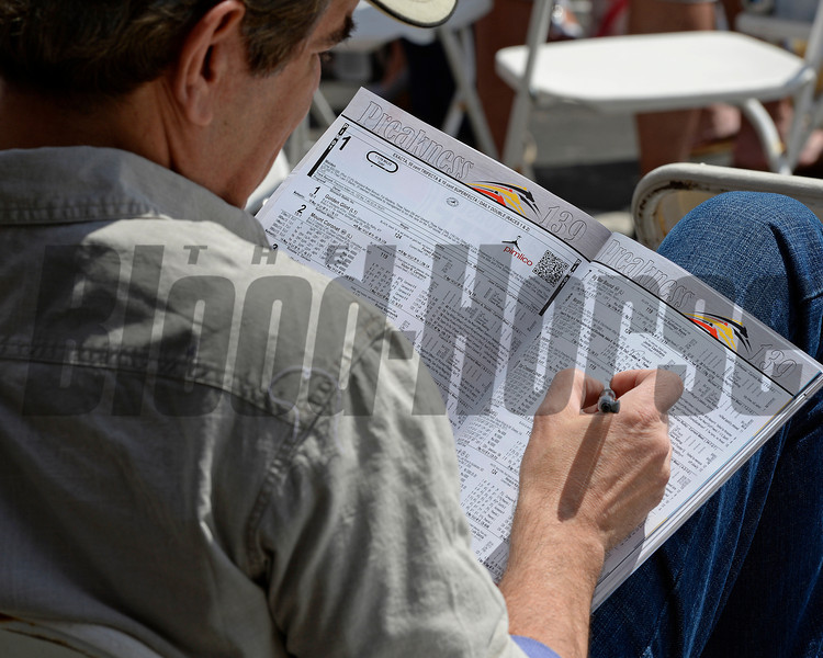 Caption: handicapping<br /> Scenes at Pimlico  in Baltimore, Md., on May 17, 2014.<br /> Scenes4  image351<br /> Photo by Anne M. Eberhardt
