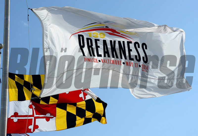 Caption: Preakness flag<br /> Scenes at Pimlico  in Baltimore, Md., on May 17, 2014.<br /> Scenes2  image264<br /> Photo by Anne M. Eberhardt