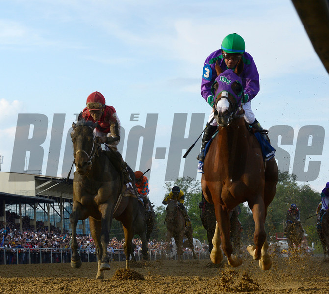 California Chrome, right with jockey Victor Espinoza in the irons wins the second leg of thoroughbred racing's Triple Crown with his win in the 139th running of The Preakness Stakes Saturday evening May 17, 2014 at Pimlico Race Course in Baltimore, Maryland.      (Skip Dickstein