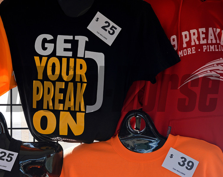 Caption: t-shirts for sale<br /> Scenes at Pimlico  in Baltimore, Md., on May 17, 2014.<br /> Scenes2  image256<br /> Photo by Anne M. Eberhardt
