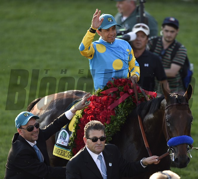 American Pharoah about to enter the Kentucky Derby Winner Circle after recieving the Garland of Roses
