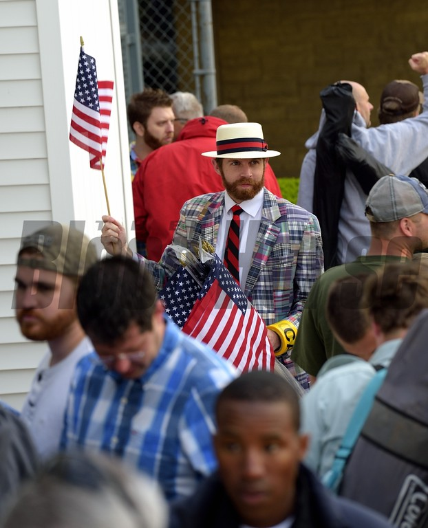 Patron ready to enter Churchill Downs for the 141st running of the Kentucky Derby.