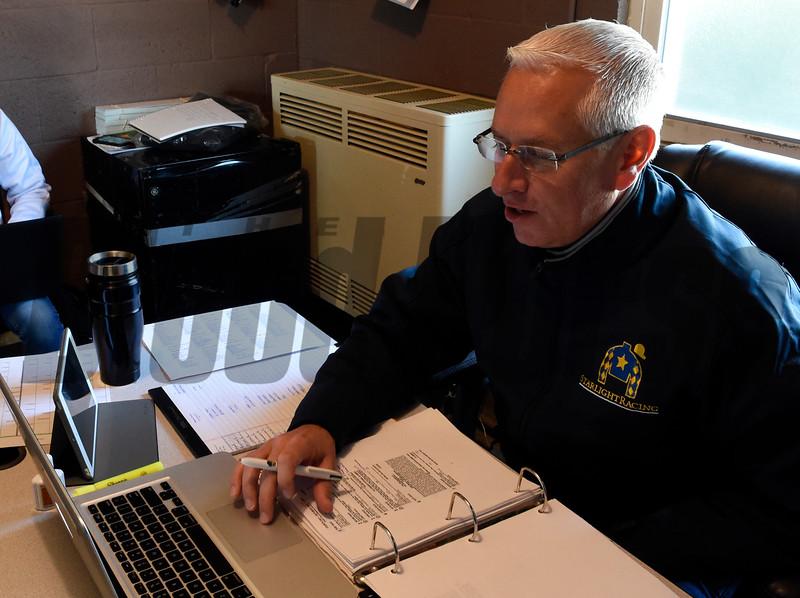 Trainer Todd Pletcher in his office.  Photo by Skip Dickstein