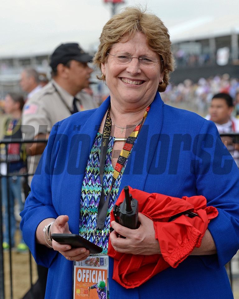 Caption:  Racing Secretary Georganne Hale on Preakness day on May 16, 2015, at Pimlico in Baltimore, Md.<br /> Clydesdales  image094<br /> Photo by Anne M. Eberhardt