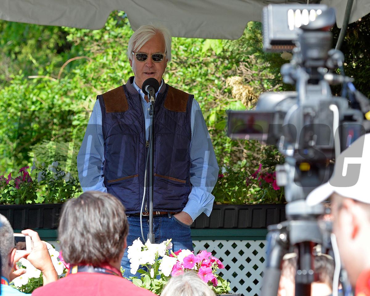 Bob Baffert talks to media