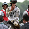 Creator 's jockey Irad Ortiz Jr. blows kisses after winning  the 148th running of the Belmont Stakes.    Photo by Skip Dickstein