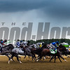 The field passes the clubhouse for the first time in 148th running of the Belmont Stakes.    Photo by Skip Dickstein