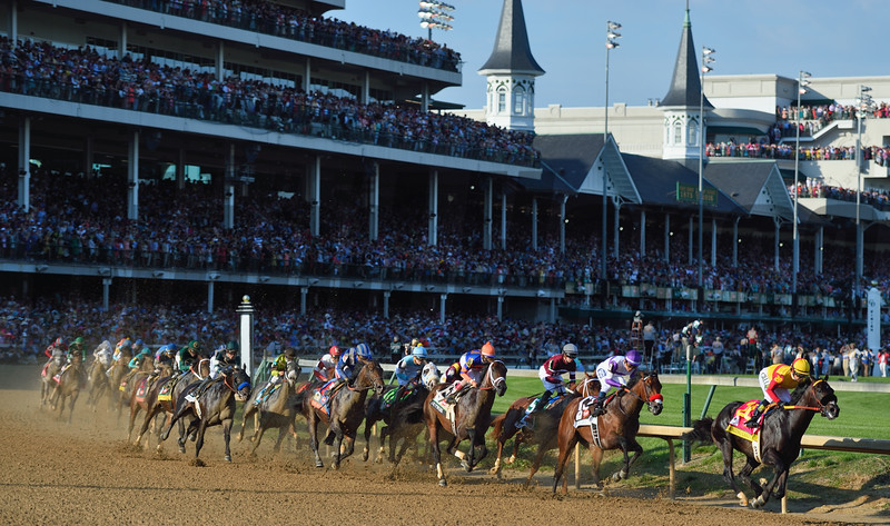 Nyquist sits nicely in second place entering the first turn of the 142nd Kentucky Derby