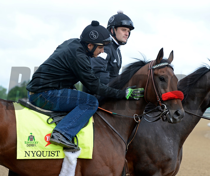 Nyquist with Jonny Garcia<br /> Works at Churchill Downs on May 5, 2016, in Louisville, Ky.