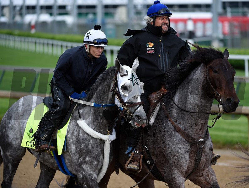Creator being ponied by trainer Steve Asmussen May 5, 2016 at Churchill Downs in Louisville, K.Y.  Photo by Skip Dickstein