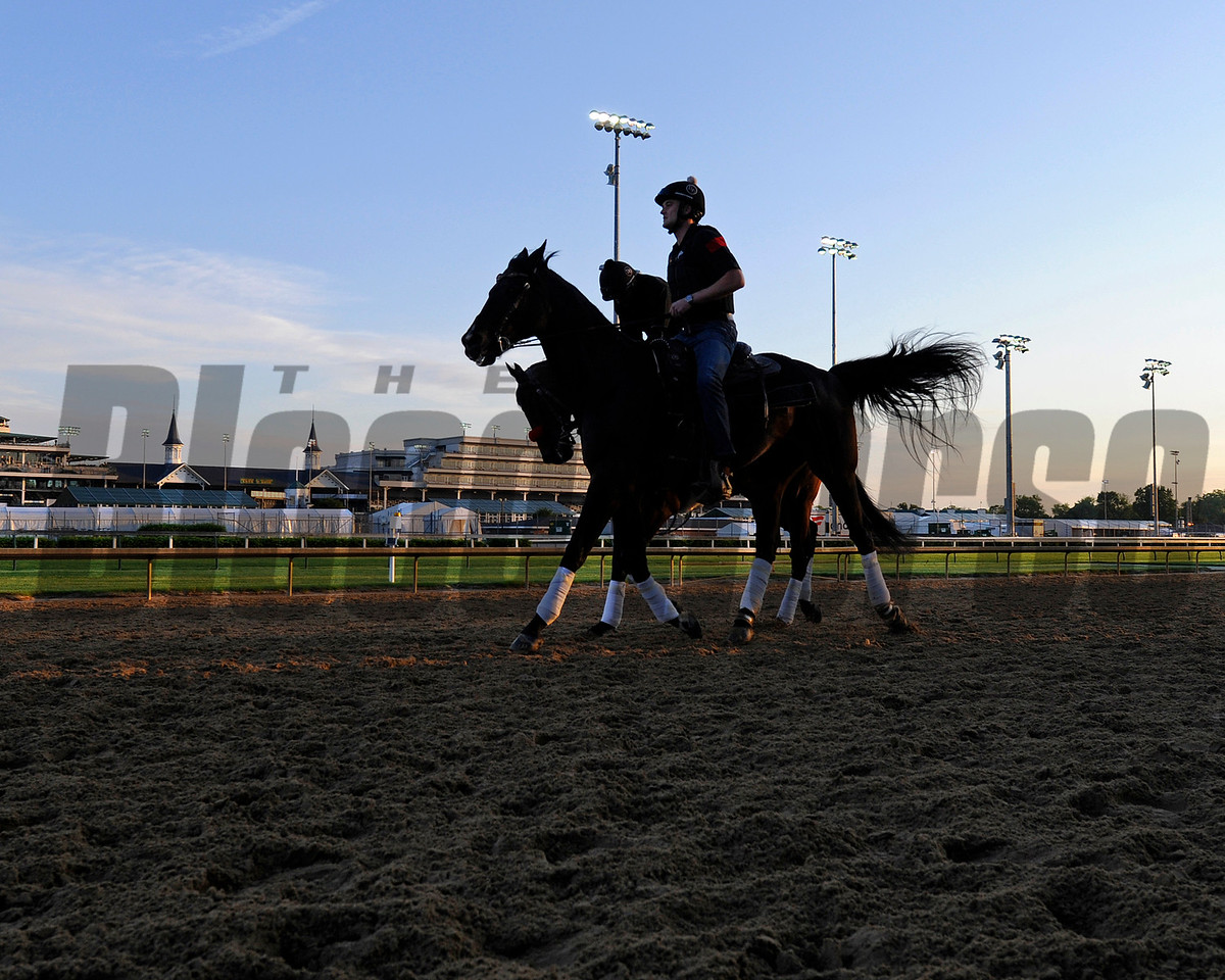 Nyquist with Jonny Garcia and Jack Sisterson on Satire going by in front of the spires.<br /> Works at Churchill Downs on May 4, 2016, in Louisville, Ky.