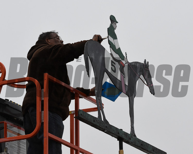 Exaggerator's colors are painted on the weather vane on the winner's cupola after Exaggerator with jockey Kent Desormeaux wins the 141st runnoing of the Preakness Stakes.  Photo by Skip Dickstein