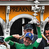 Jockey Kent Desormeaux after winning the 141st runnoing of the Preakness Stakes on Exaggerator.  Photo by Skip Dickstein