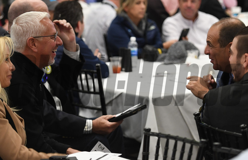 Todd Fletcher, left and Anthony Bonomo share a laugh at the post position draw at Churchill Downs May 3, 2017 in Louisville, KY.  Photo by Skip Dickste