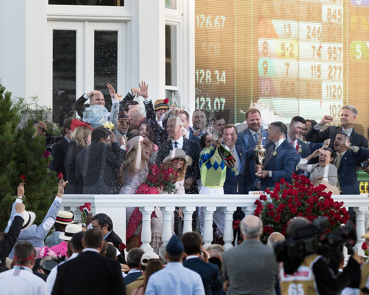 Always Dreaming with John Velazquez wins the 143 Kentucky Derby at Churchill Downs, in Louisville Kentucky<br /> <br /> Connections celebrate in the winner's circle.<br /> Saturday May 6, 2017<br /> <br /> Photo by Joseph Rey Au