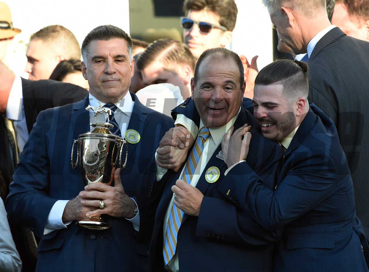 Enjoying the moment are owners Vince Viola, left Anthony Bonomo Sr. and Jr. after winning the 143rd running of the Kentucky Derby May 6, 2017 in Louisville, Kentucky.  Photo by Skip Dickstein