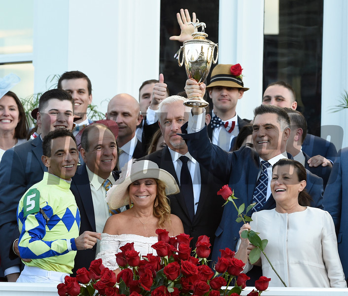 Owner Vince Viola and Anthony Bonomo Sr. and their spouses and trainer Todd Fletcher as they celebrate winning the 143rd running of the Kentucky Derby May 6, 2017 in Louisville, Kentucky.  Photo by Skip Dickstein