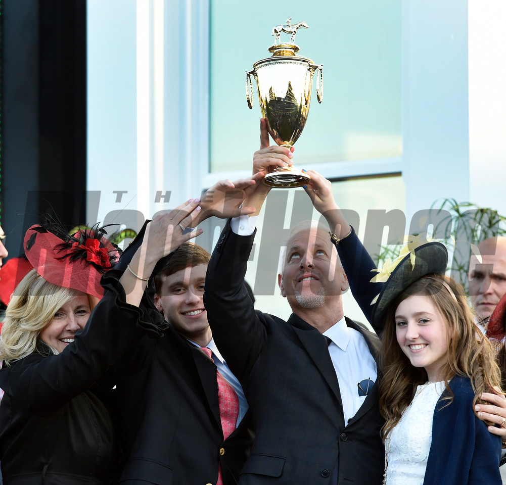 Trainer Todd Fletcher celebrates with his family after his trainee Always Dreaming won the 143rd running of the Kentucky Derby May 6, 2017 in Louisville, Kentucky.  Photo by Skip Dickstein